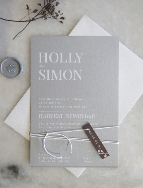 Dove grey and white ink milan invitation