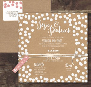 Confetti joy! white ink on kraft invitation