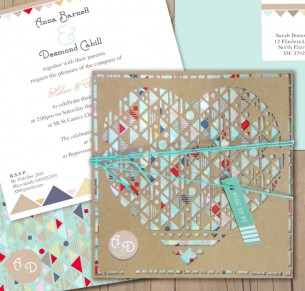 Aztec hearted kraft laser cut invitation