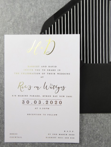 Rose gold and gold foil! Bliss invitation