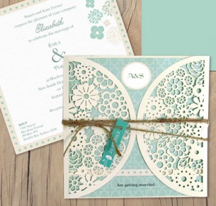 vintage lace laser cut invitation
