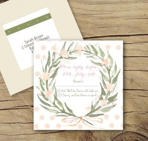 watercolour wreath rsvp card