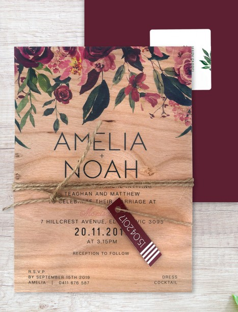 Printed on wood! bordeaux invitation