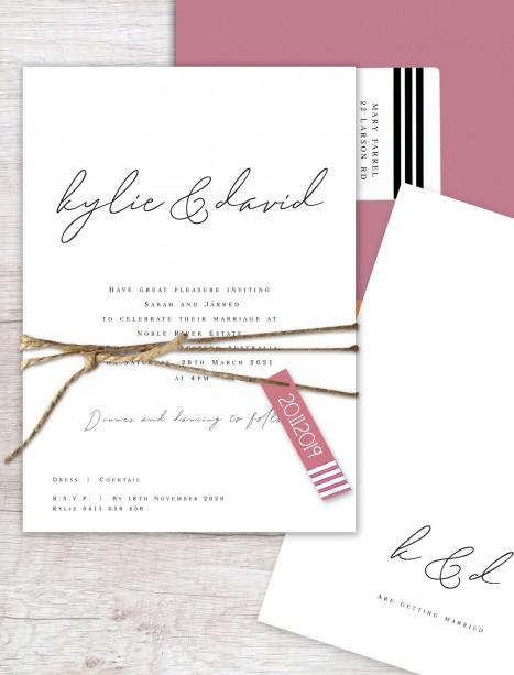 Flat card copenhagen wedding invitation