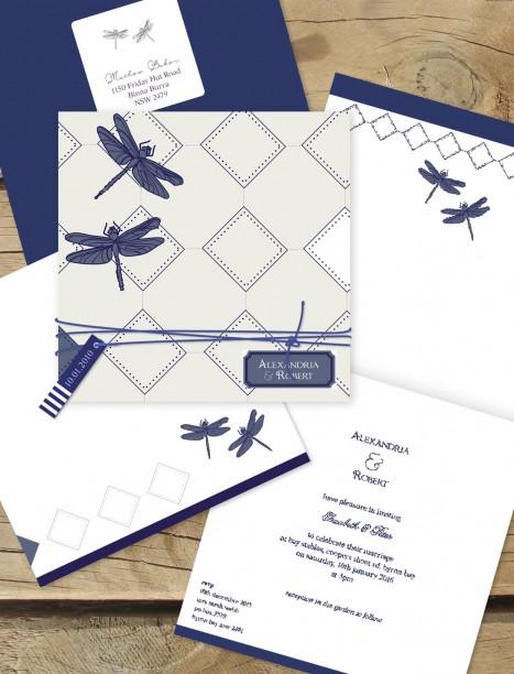 Dragon flies wedding invitation