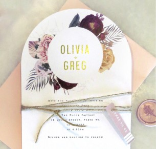 thumberlina in burgandy and rose gold + gold arch invitation