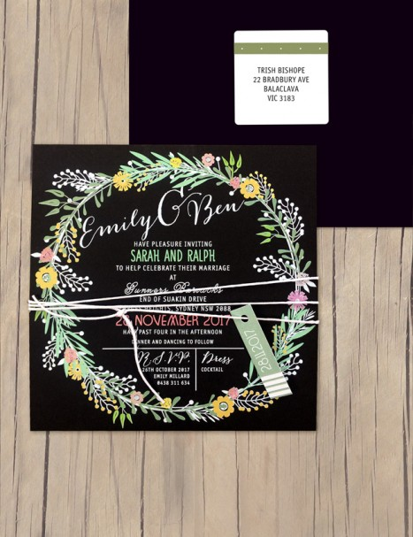 charmed white+colour on black invitation