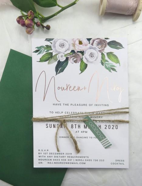 metallic rose gold foil forever invitation