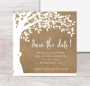 Under the oak save the date white ink on kraft