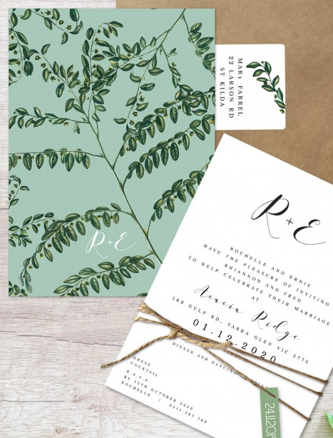 perennial flat card wedding invitation