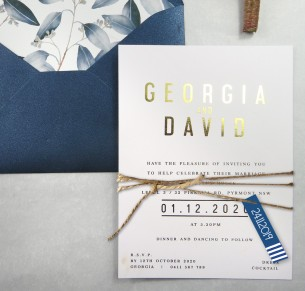 metallic rose gold Foil Georgia invitation