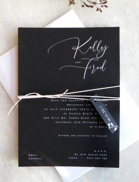 White ink Kelly wedding invitation