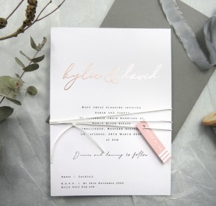 Metallic rose gold and gold foil copenhagen invitation
