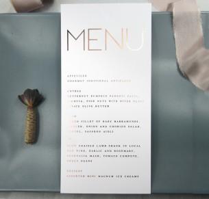metallic rose gold and gold foil helsinki menu